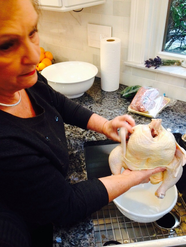The day before-My mom helping with the capon!