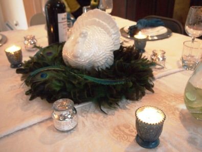 The centerpiece-- my turkey with peacock feathers!