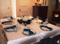 The table all set! Peacock themed of course.