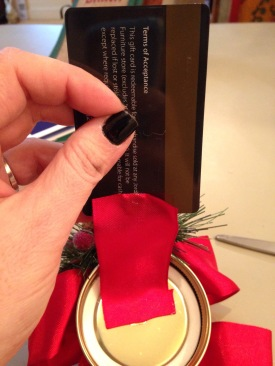 The gift card was then glued to the intierior ribbon (remember to face the gift card right, etiher horizontal or vertical, to fit in your jar.