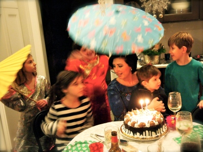 2014 Birthday cake with kids blurry