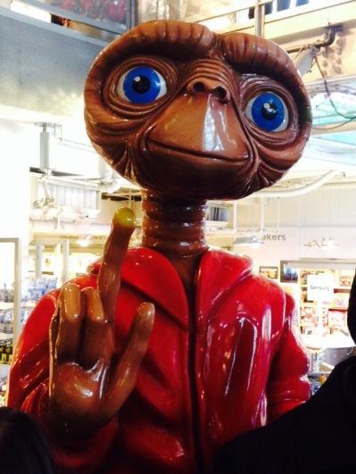 We rode ET's car.