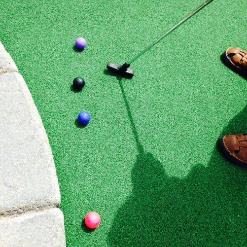 Our first hole and our balls all lined up by turn..super cute