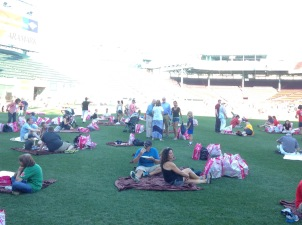 Lounging on the field.
