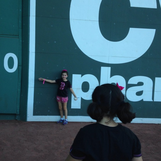 Touching the Green Monster for the first time!