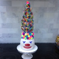 Placed it on a ruffled mini cake stand and voila..clown!