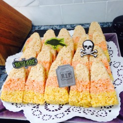 Made Candy Corn shaped rice krispie treats.. they were so cute