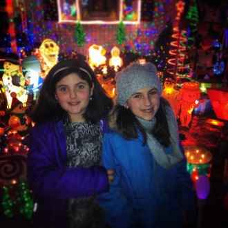 The girls out for Christmas lights