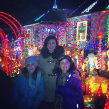 a new tradition... birthday christmas lights. I love these two girls. They really can make me feel good..