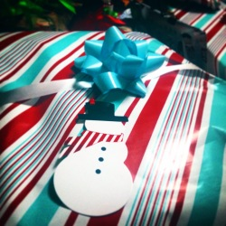 Santa came! He only wraps in stripes..allll stripey!