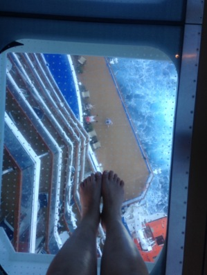 My feet over the glass walkway