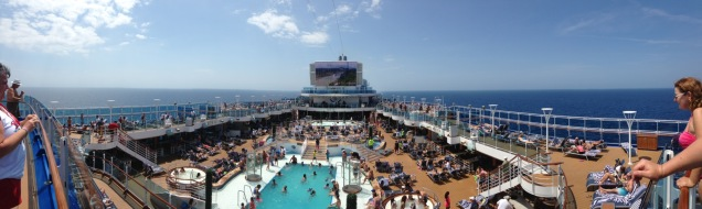 View from the top deck facing the pool.