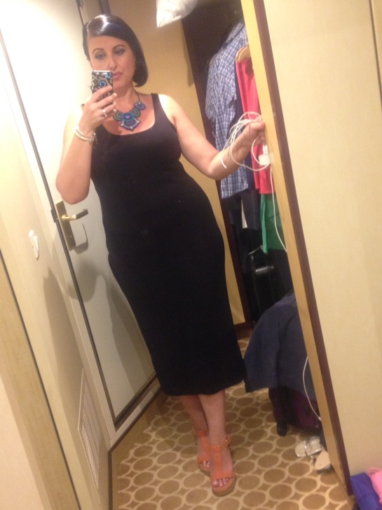 My outfit on this night..a black tank dress and orange wedge sandals