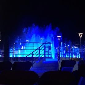 Fountain light show outside