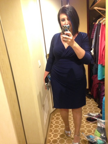 My outfit for the night...blue Ralph Lauren wrap dress w silver heels