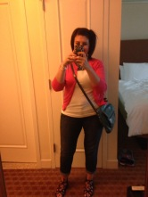 My outfit for the first night.. jeans, tank and sweater with sandals. PERFECT!