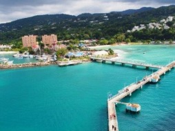 The view from our balcony this morning of Ocho Rios