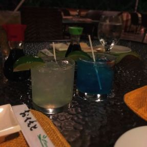 First night in, sushi and fun colored drinks. :)