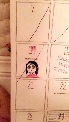 As I put the kids to bed, I found this marked on my daughter's calendar. She is so cute!