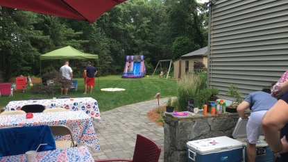 Our yard with the inflatable