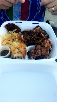 my husband got the jerk chicken and pork, and our youngest wanted nothing to do with it, but ended up eating all of ours!