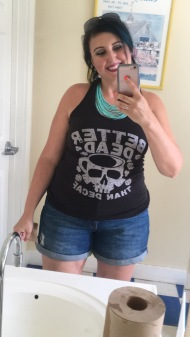 DAY 3 OOTD; my gym tank and shorts.. we had other plans but changed them to go out for the day...