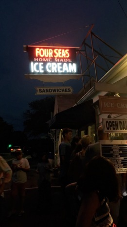 """""""I want to be Jackie Onassis"""" ooh yeahhhhhh ok I will stop singing.. So Four Seas is the place in Hyannis for ice cream. My fam loves it here but I hadta skip it this night... too much ice cream for me man!"""