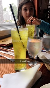 The craziest color drink ever.. so yellow! Inca Kola tastes like bubblegum and cream soda. the girls gave it a thumbs up but didnt finish them..soooo i dont know if they actually liked it the whole meal.