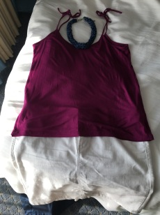 OOTD: magenta tank and white denim mini