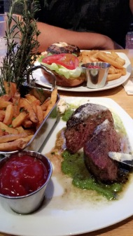 Tip Tap Room dinner. Steak Frites and steak burger. The food was pretty great.. i am a steak eater, so I was happy :)