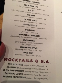 Their cocktail menu was awesome