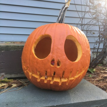 Our carved pumpkin..no stencil but it came out great!