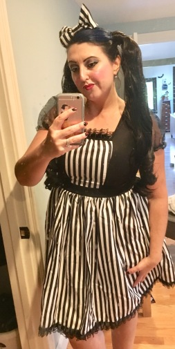 Magic Legs costume..it was cute! And I can use it as a pirate, wench, fat girl in stripes, or anything I decide in the future haha