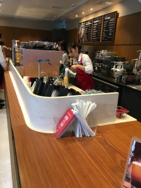 the first time I went to a starbucks in Tokyo 2004, the girls at the counter sang to me my order. it was like a sirens call of these cute Japanese girls, they giggled, made me giggle, and it left such an impression... this time it was all business, no singing :(((
