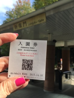 The ticket to the Gyoen garden