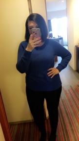 OOTD: Electric blue Gap sweater and black leggings.