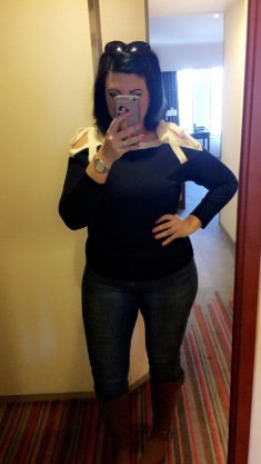 OOTD Tokyo- JCrew shoulder tie navy blue and ivory sweater, jeggings, and boots.