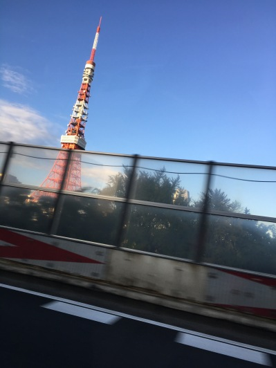 driving to airport...Tokyo's tower