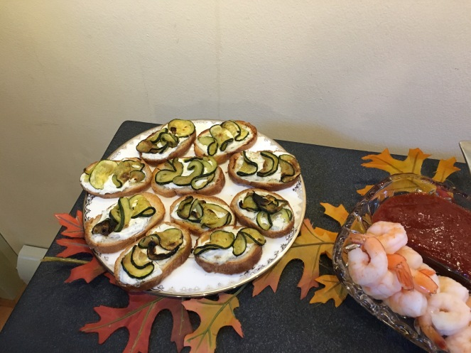 surprised how good my concoction came out.. caramelized zucchini and thyme goat cheese