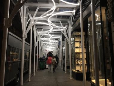 lit up construction passways look like art