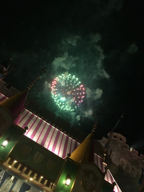 Catching the fireworks right outside Peter Pan as we were walking in