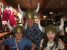 And another traditional photo, this is our third vikings hat photo... look at H's face. hahah