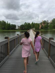 Walking the bridge to the main area