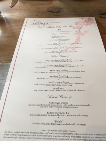 The Mother's Day fixed menu, Ledger Restaurant