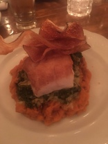 Roasted cod with creamed kale and carrot puree