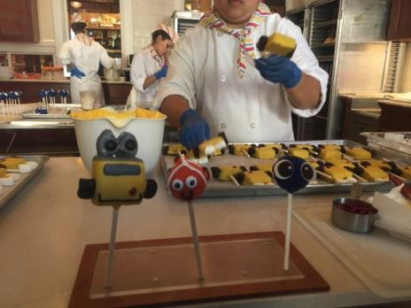 Making Pixar Fest Wall-E. Nemo and Dory cake pops