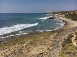 Crystal Cove State Park- view from above of rock plates/tide pools