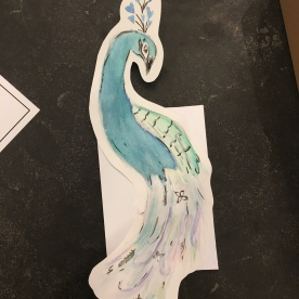 my daughter hand painted this peacock card.. amazing right?