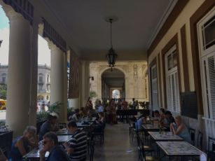 Sitting outside at the Hotel Inglaterra, Havana, Cuba