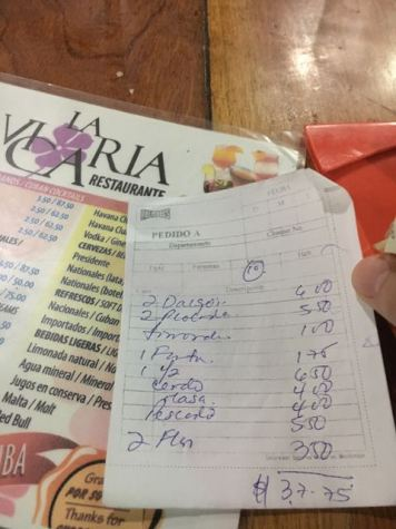 Our bill... food is inexpensive